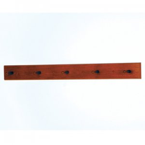 5 Peg Coat Rack with Wood Pegs - Mahogany