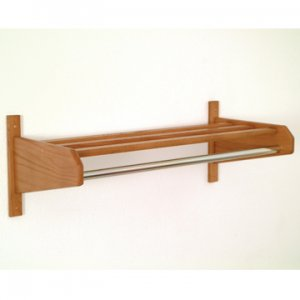 "36"" Medium Oak Coat & Hat Rack With 5/8"" Diameter Chromel Hanger Bar"
