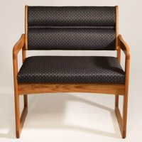 Office Waiting Room Bariatric Guest Chair - Medium Oak - Arch Slate