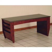 Coffee Table with Magazine Pockets w/Black Granite Look Top - Mahogany