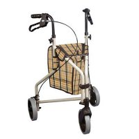 Winnie Lite Supreme Three Wheel Rollator / Rolling Walker - Tan Plaid
