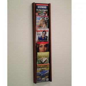 6 Pocket Solid Oak and Acrylic Literature Wall Display Rack - Mahogany