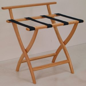 Light Oak Luggage, Suitcase, or Briefcase Rack - Black Straps