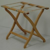 Designer Curve Leg Luggage Rack in Light Oak - Tapestry Straps