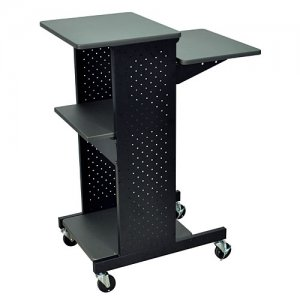4 Shelf Wood and Metal Presentation Cart with Laptop Tray