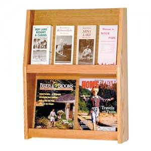 4 Magazine / 8 Brochure Oak Wall Display Literature Rack