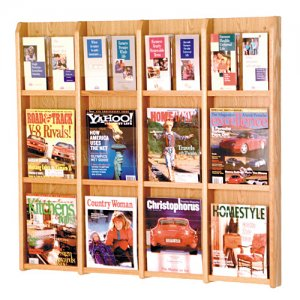 12 Magazine Oak and Acrylic Wall Mount / Literature Display Rack