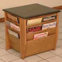 End Table with Magazine Pockets w/Black Granite Look Top - Medium Oak