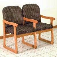 Office Waiting Room Two Seat Chair w/Center Arms - Medium Oak - Arch S