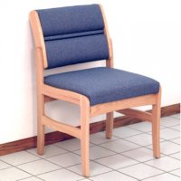 Office Waiting Room Armless Guest Chair - Light Oak - Powder Blue
