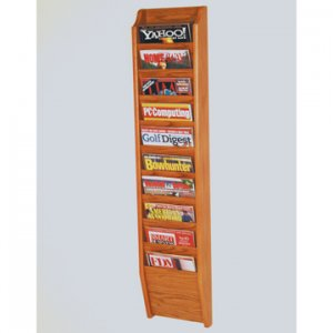 10 Pocket Wall Mount Magazine Rack - Medium Oak
