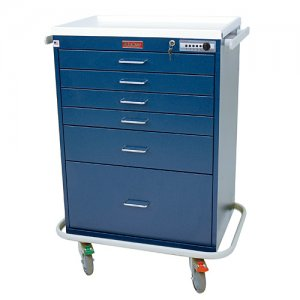 6 Drawer Specialty Medical Anesthesia Cart - Combination and Key Lock