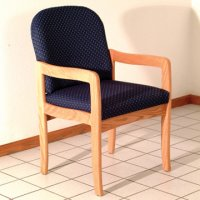 Office Waiting Room Guest Chair - Light Oak - Arch Blue