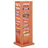 40 Pocket Wooden Rotating Magazine Floor Display Rack