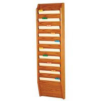 Chart and Rack/File Holder, Tapered Bottom Wall Mounted, 10 Pocket, Letter Size, Oak Wood Finish