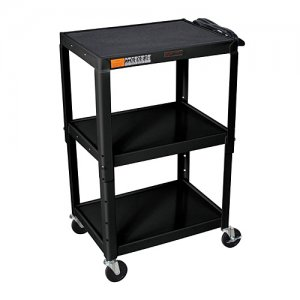 Black Adjustable Audio Visual (AV) Utility Cart With 3 Shelves