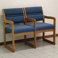 Reception and Waiting Room Two Seat Chair w/Center Arms - Medium Oak - Powder