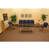 Dakota Wave Prairie Waiting Room Seating Set for 6 - Blue / Light Oak