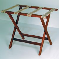 Deluxe Straight Leg Luggage Rack in Mahogany - Tapestry Straps
