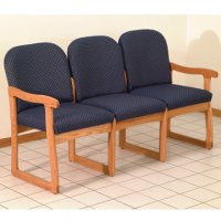 Office Waiting Room Three Seat Sofa - Medium Oak - Arch Blue