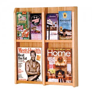 4 Magazine Oak and Acrylic Wall Mount / Literature Display Rack