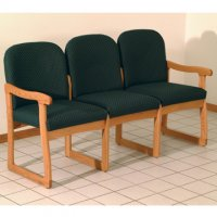 Office Waiting Room Three Seat Sofa - Medium Oak - Arch Green