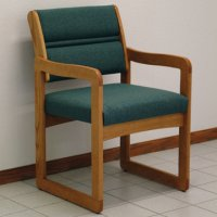 Reception and Waiting Room Chair - Medium Oak - Foliage Green