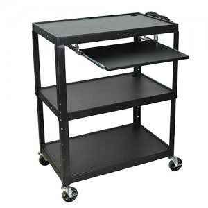 Black Adjustable Height Extra Large AV Utility Cart w Keyboard Shelf
