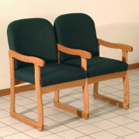 Office Waiting Room Two Seat Chair w/Center Arms - Medium Oak - Arch G
