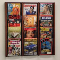 12 Pocket Oak and Acrylic Literature Wall Display Rack - Mahogany