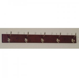 Coat Rack, 5 Hook with Nickel Hardware, Mahogany Wood Finish