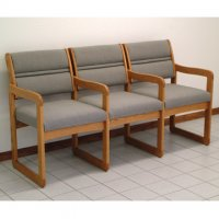 Reception and Waiting Room Three Seat Chair w/Center Arms - Medium Oak - Char