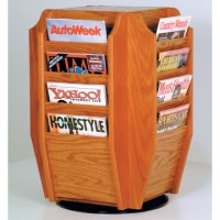 Spinning Countertop Display with 16 Magazine Pockets - Medium Oak