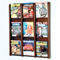 9 Magazine Wall Display - Mahogany