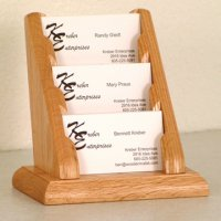 3 Pocket Countertop Business Card Holder - Light Oak