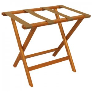 Deluxe Straight Leg Luggage Rack in Medium Oak - Tan Straps