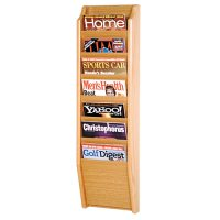 7 Pocket Wooden Wall Mount / Display Magazine or Literature Rack