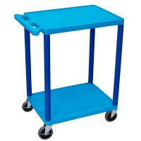 Small 2 Shelf Rolling Utility Cart - Gray Red, Blue - HE32