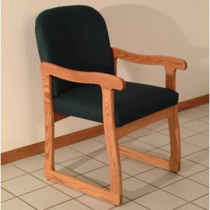 Office Waiting Room Guest Chair - Medium Oak - Arch Green