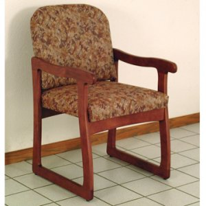 Office Waiting Room Guest Chair - Mahogany - Watercolor Rose