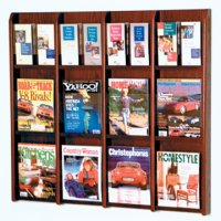 12 Magazine/24 Brochure Wall Display with Brochure Inserts - Mahogany