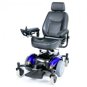 Blue Intrepid Mid-Wheel Electric Power Wheelchair with Captain Seat