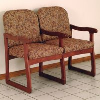 Office Waiting Room Two Seat Chair w/Center Arms - Mahogany - Watercol
