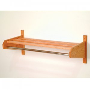 "24"" Light Oak Coat & Hat Rack With 5/8"" Diameter Chrome Hanger Bar"