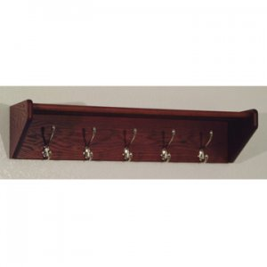 32 Inch Solid Oak Coat & Hat Rack With 5 Nickel Hooks - Mahogany