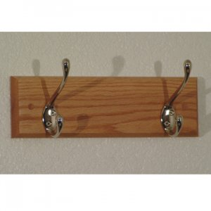 2 Hook Coat Rack with Nickel Hooks - Light Oak