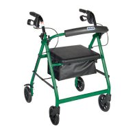 6 Inch Caster Rollator with Fold Up and Removable Back Support - Green