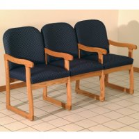 Office Waiting Room Three Seat Chair w/Center Arms - Medium Oak - Arch