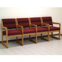 Reception and Waiting Room Four Seat Chair w/Center Arms - Medium Oak - Caber