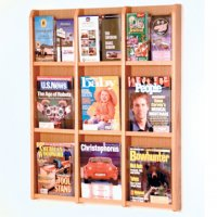 9 Magazine/18 Brochure Wall Display with Brochure Inserts - Light Oak